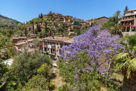 Tramuntana mountain, Village in Mallorca. View of typical stone village in Majorca, Balearic island, Spain.