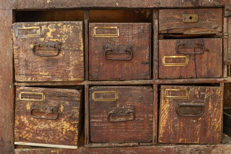 drawers: Wood cabinet. Vintage old wooden retro drawers. Stock Photo