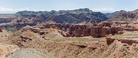highlands region: Charyn canyon in Almaty region of Kazakhstan. Beautiful view of the canyon  Stock Photo