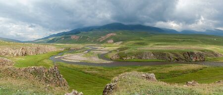 Steppe Kazakhstan, Trans-Ili Alatau, plateau Assy, river-bed of the mountain rivers Stock Photo