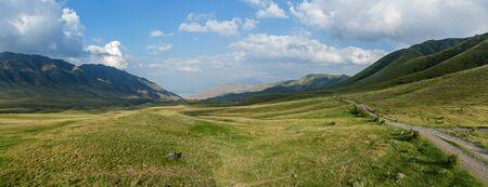 plateau: Steppe Kazakhstan, Trans-Ili Alatau, plateau Assy, a road is in mountains