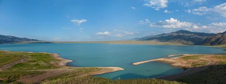 hydroelectric station: Bartogai dam on a mountain river Chilik, Kazakhstan  Stock Photo