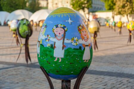 Kyiv, Ukraine, Sophia Square, 2 of May 2016. Painted Easter eggs on the Ukrainian festival in Kyiv
