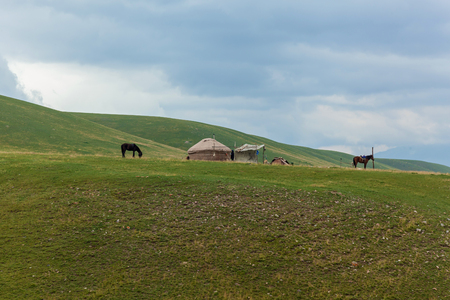the Yurt, or nomads house is near green hills, the wild nature of Kazakhstan