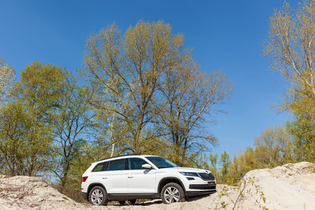 Ukraine, Kyiv 25 april 2017  car Skoda Kodiaq 2.0 TDi model year 2017 test drive  of car on sand