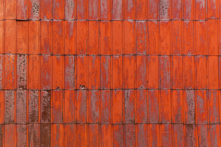 red metal texture with rust, Red metal sheet for industrial building and construction. Stock Photo