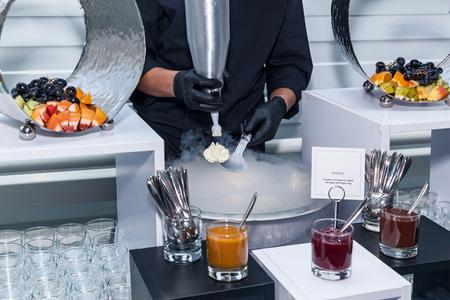 Making ice-cream with liquid nitrogen, chef show. ice cream in liquid nitrogen