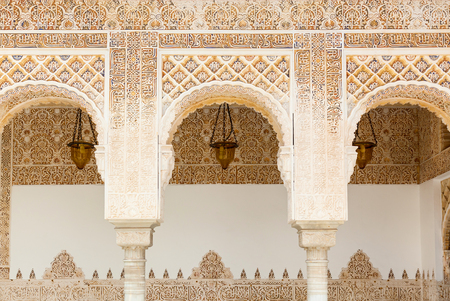 Arches in Islamic Moorish style in Alhambra, Granada, Spain