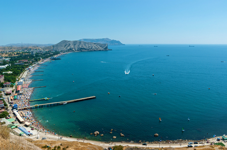 View from the Sudak fortress on the coast. View from the Sudak fortress. View from the Genoese fortress in Sudak, Crimea