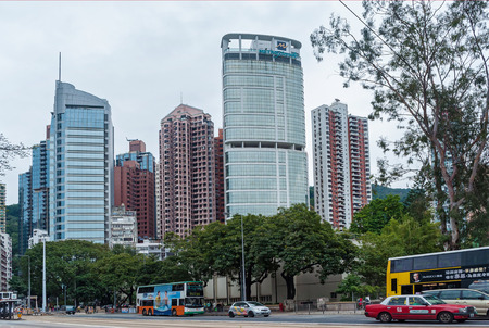 Hong Kong January 29, 2016: City skyscrapers are famous landmarks of Hong Kong. Hong Kong is one of the most densely populated areas in the world. Редакционное
