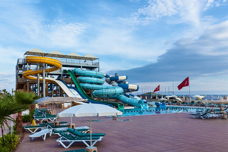 Alanya, Turkey 6 May 2016: Many waterslides all by themselves among the water surface,Aquapark May 6, 2016 in Turkey, Alanya