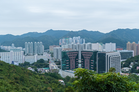 City skyscrapers are famous landmarks of Hong Kong. Hong Kong is one of the most densely populated areas in the world.