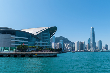 Victoria Harbor and Hong Kong Island.photo taken from Victoria Harbor
