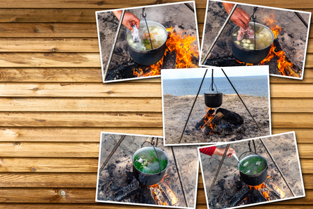 Collage fish soup cooking in a pot on a fire in the forest by the sea