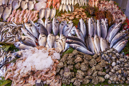 Closeup of assorted seafood and fish at Fish market in Istanbul, Turkey, selective focus. Food background. Raw fish and seafood. Fresh food. Standard-Bild