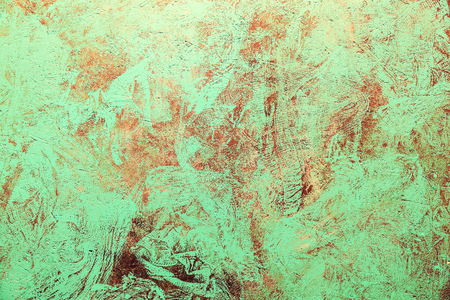 Rusty Colored Metal with cracked paint, grunge background. metal painted in antiquity
