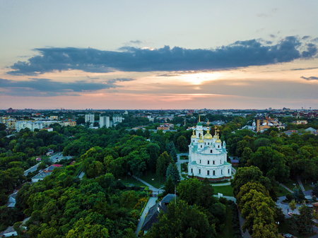 Orthodox church in the background of the sunset, smotravaya site in Poltava