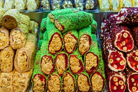 Turkish sweets multicolored candy bars Turkish delight with nuts Oriental sweets