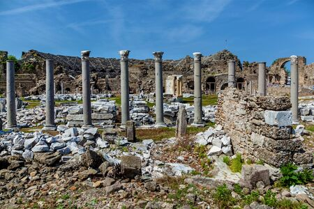 The ruins of the old ancient theater in Side, Turkey archeology background. Stok Fotoğraf