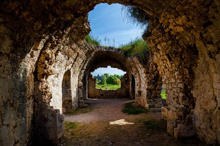 Ancient Side ruins in Turkey Kemer Antalya. Old ruins of the city of Side Turkey Stok Fotoğraf