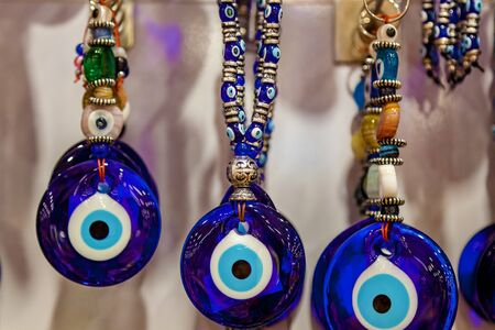 Group of traditional Turkish Amulet Evil Eye - The Blue Eye background Stok Fotoğraf