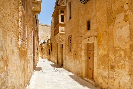 Old narrow medieval street of Mdina, Malta.Sights of the island of Malta
