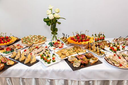 Beautifully decorated appetizers for the catering banquet table.Catering for events snacks for buffet