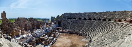Old amphitheater from ancient times in the region of Antalya, Side, Turkey.