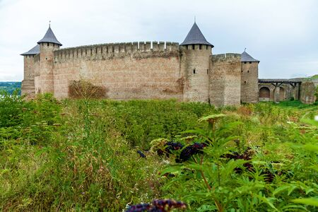 Khotyn fortress of the X XVIII centuries with a fortification complex, One of the seven wonders of Ukraine located on the right bank of the river. Dniester in the city of Khotyn. Stock fotó