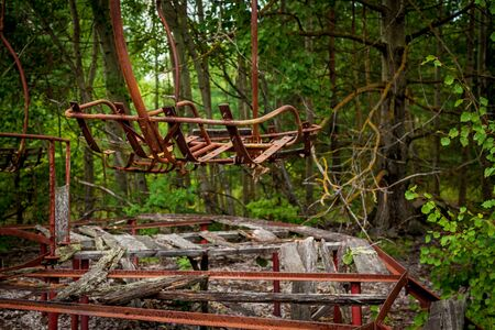 An abandoned amusement park in the center of Pripyat, in the Chernobyl exclusion zone, Ukraine