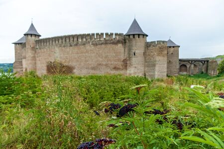 Khotyn fortress of the X XVIII centuries with a fortification complex, One of the seven wonders of Ukraine located on the right bank of the river. Dniester in the city of Khotyn. Banco de Imagens