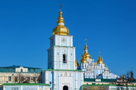 St. Michaels Monastery, an architectural structure of the Orthodox church with golden domes, Kiev Ukraine Banco de Imagens