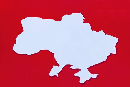 The white map on the red background. The minimalist map of Ukraine with detailed  elements.