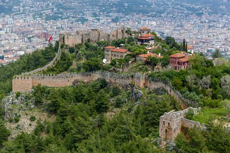 View of Alanya from the highest point above the city on a sunny day. An amazing medieval in the southern Turkish city of Alanya.