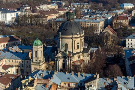 A monastery is located in the citys Old Town, east of the market square in Lviv, Ukraine. Stock Photo
