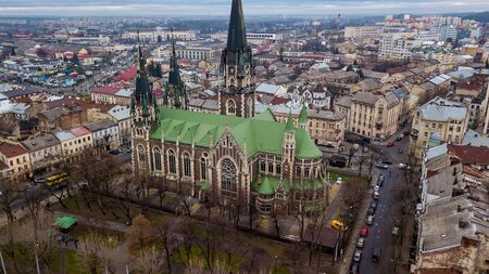 An aerial view of the gothic Church of Sts. Olha and Elizabeth which located between the citys main rail station and the Old Town in Lviv, Ukraine.