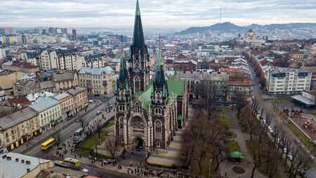 An aerial view of the gothic Church of Sts. Olha and Elizabeth which located between the city's main rail station and the Old Town in Lviv, Ukraine.