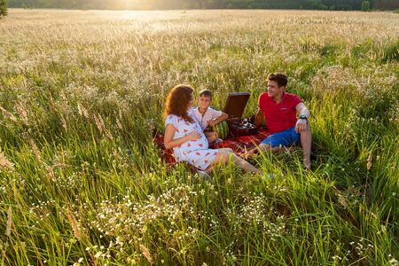 A happy family spends time together in nature. They are sitting on the blanket in the field on a summer sunny day.Pregnant family photo shoot in nature