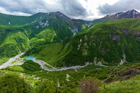 Georgian Military Road, beautiful mountain scenery and mountain rivers along it. Georgian Military Road