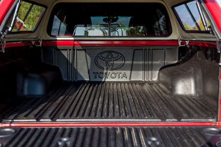 Ukraine Kiev October 10, 2020: interior design of Toyota Hilux new 4x4 pickup with double cab, with reinforced metal bumper and winch. Japanese car brand.