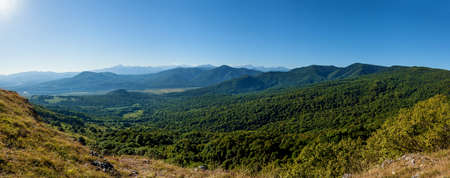 Beautiful landscapes in Adygea, green high mountains, the Belaya river, observation decks and countless green forests in the valleys and on the mountain slopes