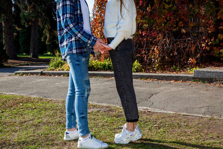 Young beautiful couple in love in a good mood walks in the autumn park, holding hands. Young couple in the park