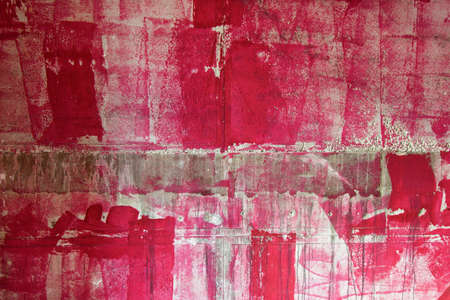 Concrete wall at a construction site painted with pink paint Foto de archivo