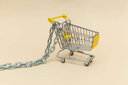 Metal shopping cart with metal chain on a beige background. Concept objects for supermarket. Photo with place for your text and design. Foto de archivo