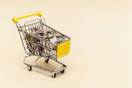 Metal shopping cart with metal coins on a beige background. Money concept. Photo with place for your text and design Foto de archivo