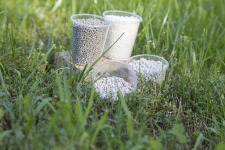 farme: In the bright sunbeams fertilizer in plastic cups on a granite stand surrounded by bright green grass. Stock Photo