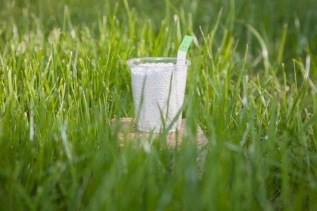 farme: Nel fertilizzante brillante raggi del sole in bicchieri di plastica su un granito basamento circondato da erba verde brillante. Archivio Fotografico