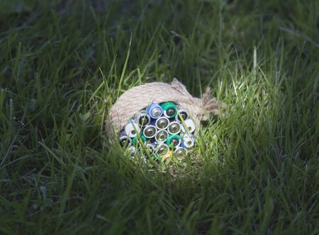 farme: Batteries wrapped a rope on the grass in a bright sunbeam.