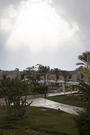 sharm: It is very rare in Egypt, in the autumn of the rain. The hotel in Sharm el-Sheikh after a rain. Stock Photo