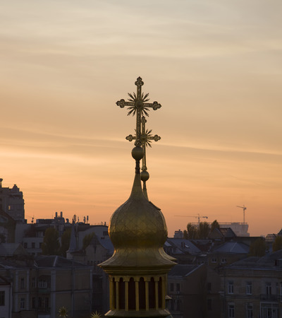 tabernacle: The old domes at sunset among the city.
